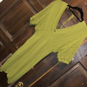 V-NECK GREEN SWEATER DRESS W/CABLE KNIT TOP SZ S/M